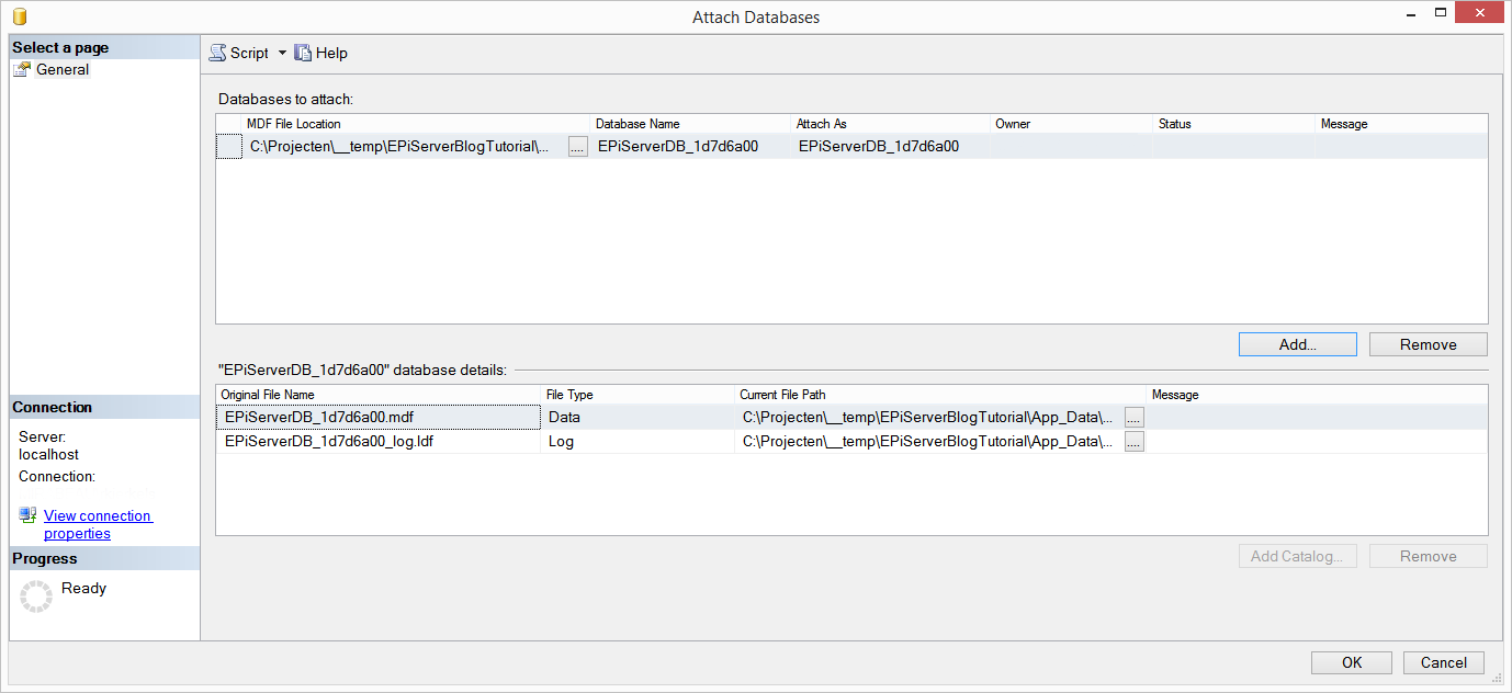 Attach MDF file to SQL database