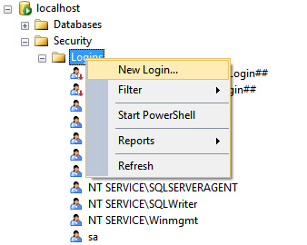 Create new SQL server login