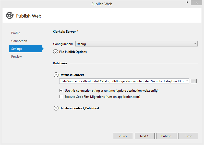 Web Deploy settings