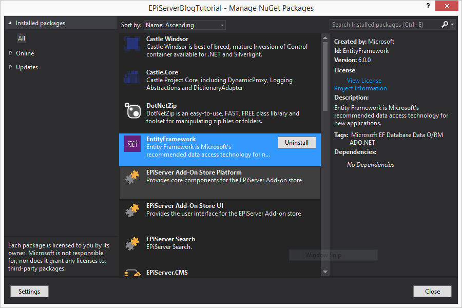 NuGet Package Manager for installing Entity Framework 6