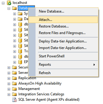 Import MDF database file in SQL server