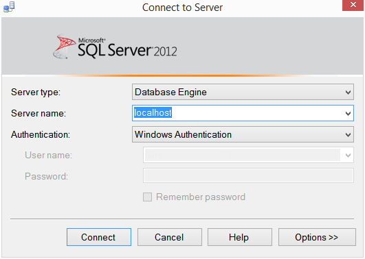 Microsoft SQL Server 2012 login screen