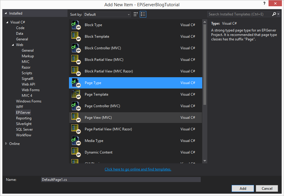 visual studio create new page type