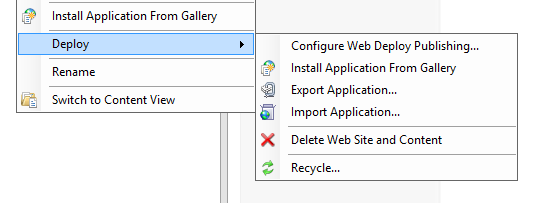 Right-Click menu on a Site in IIS